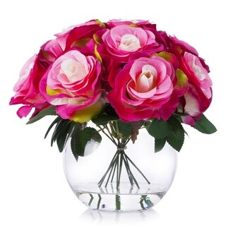 Enova Home Pink Red Silk Rose Flower Arrangement in Clear Glass Vase With Faux Water For Home Decoration - N/A