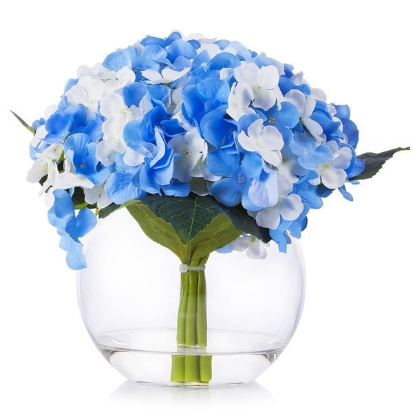 Enova Home Silk Hydrangea Flower Arrangement in Clear Glass Vase With Faux Water For Home Decoration - N/A