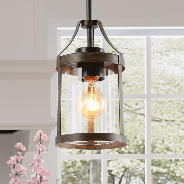 """Rustic Pendant Lighting Bronze Hanging Ceilling Light for Kitchen,Dining Room - W6""""xH10"""". Opens flyout."""