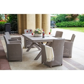 Moda Outdoor 7-Piece Patio Dining Set with Seat Cushions