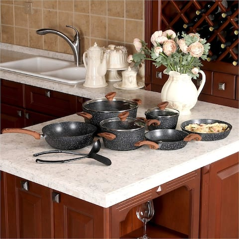 Kitchen Academy 12 Piece Nonstick Granite-Coated Cookware Set - Bakelite Handle With Wood Effect (Soft Touch)