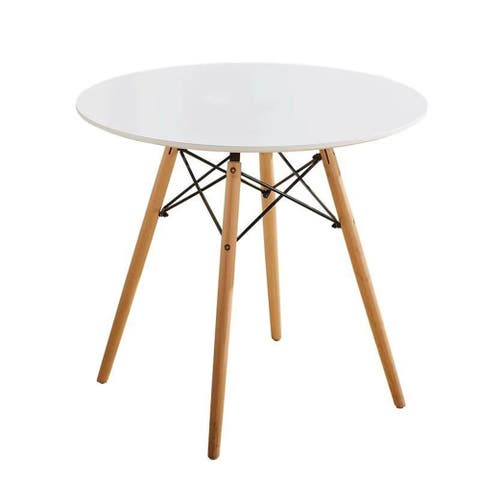Porthos Home Cacey Circle Dining Table, MDF Top and Beech Wood Legs