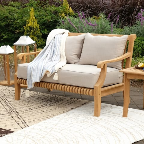Chara Teak Patio Loveseat with Cushion by Havenside Home
