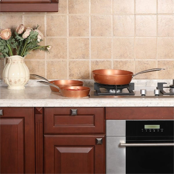 8 9 5 11 Inch Kitchen Academy Red Copper Ceramic 3 Piece Nonstick Induction Cookware Set Kitchen Dining Cookware