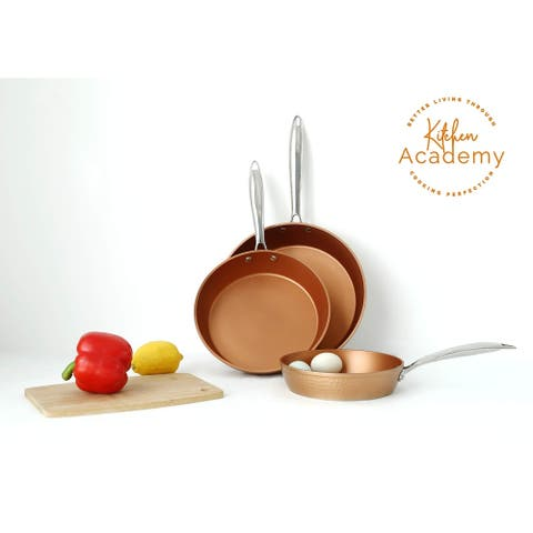 Kitchen Academy Red Copper Ceramic 3 Piece Nonstick Induction Cookware Set - 8/9.5/11 inch
