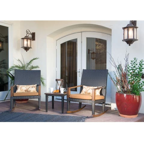 Corvus Heritage Outdoor 3-piece Rattan Rocker Set with Sunbrella Cushions