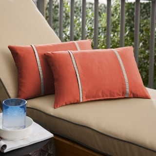 Sunbrella Melon Coral Orange with Cast Silver Indoor/Outdoor Lumbar Pillows Set of 2