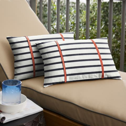 Sunbrella Blue Stripes with Melon Coral Orange Indoor/Outdoor Lumbar Pillows Set of 2