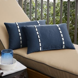 Link to Roah Navy with Blue Stripes Indoor/Outdoor Lumbar Pillows (Set of 2) by Havenside Home Similar Items in Decorative Accessories