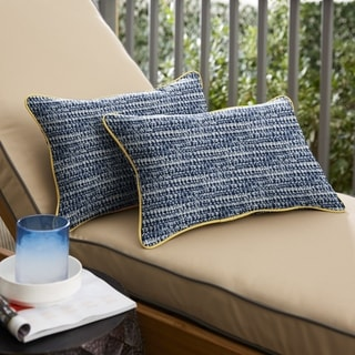 Ralien Indigo Graphic with Butter Yellow Indoor/Outdoor Lumbar Pillows (Set of 2) by Havenside Home