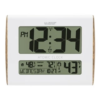 La Crosse Technology 513-1919-INT Digital Atomic Faux Wood Sided Wall Clock with Temperature and Indoor Humidity