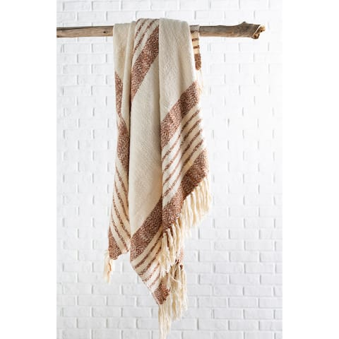 """Giselle Cottage Hand Woven 50"""" x 60"""" Cotton-Blend Throw"""