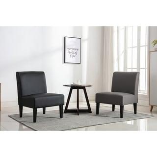 Porch & Den Scheel PU Leather Upholstery Slipper Chair