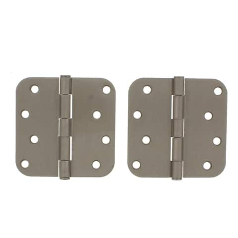 """4"""" x 4"""" Door Hinge with 5/8"""" Radius Corner, Removable Pin and Button Top in Satin Nickel"""