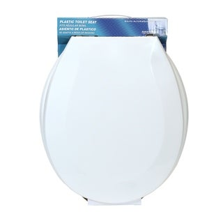 AquaPlumb CTS70W Economy Round Plastic Toilet Seat with Cover Lid, White