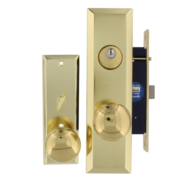 Guard Security P8888RAK Mortise Lock, Right Hand Attached with 2 Keys, Polished Brass Finish