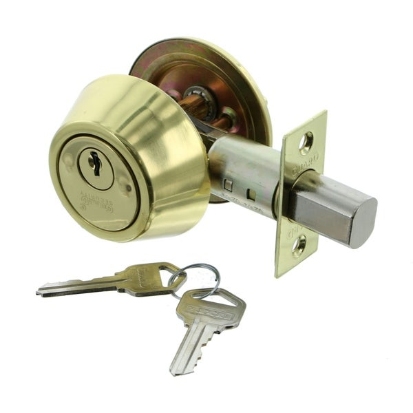 Guard Security 281HDPB Single Cylinder Deadbolt Door Lock with Polished Brass Finish