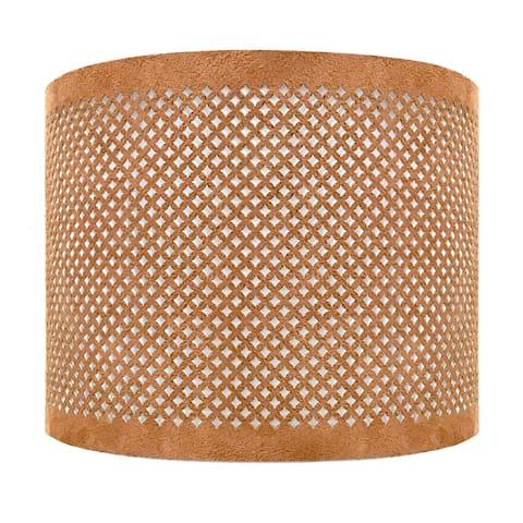 "Royal Designs, Inc. Do-It-Yourself ""DIY"" Faux Leather Stencil Design Uno Drop Hardback Lamp Shade, Light Brown, 8"" x 8"" x 8"""