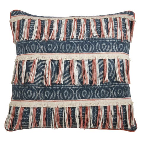 Fringed Floor Pillow with Block Print Embroidered Design