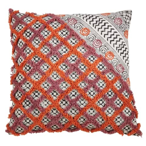 Embroidered Block Print Floor Pillow.