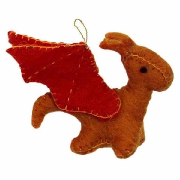 Handmade Felted Wool from Nepal Sun Dragon Ornament. Opens flyout.