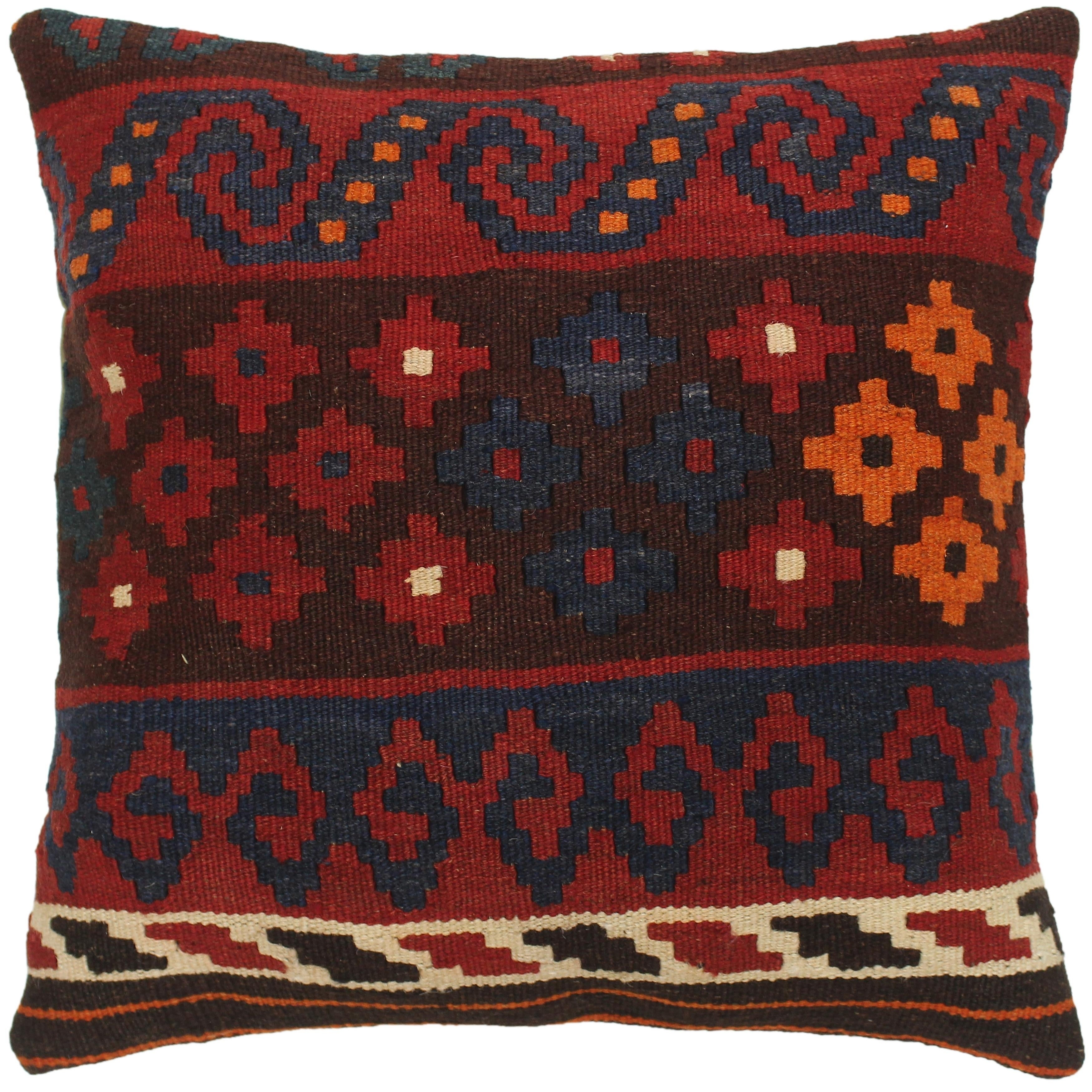 Richard Red Blue Hand Woven Kilim Throw Pillow 1 5 X 1 6 Overstock 29811615