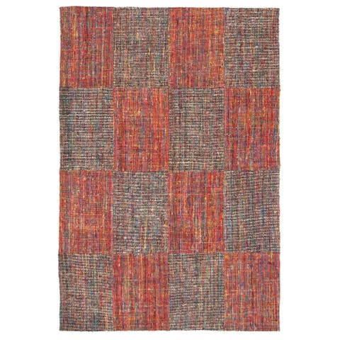 Handmade Collage Red Silk Rug
