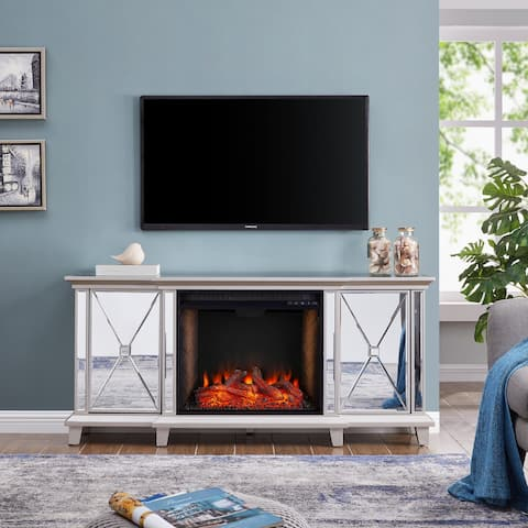 Silver Orchid Talmar Mirrored Fireplace Media Console w/ Alexa Firebox