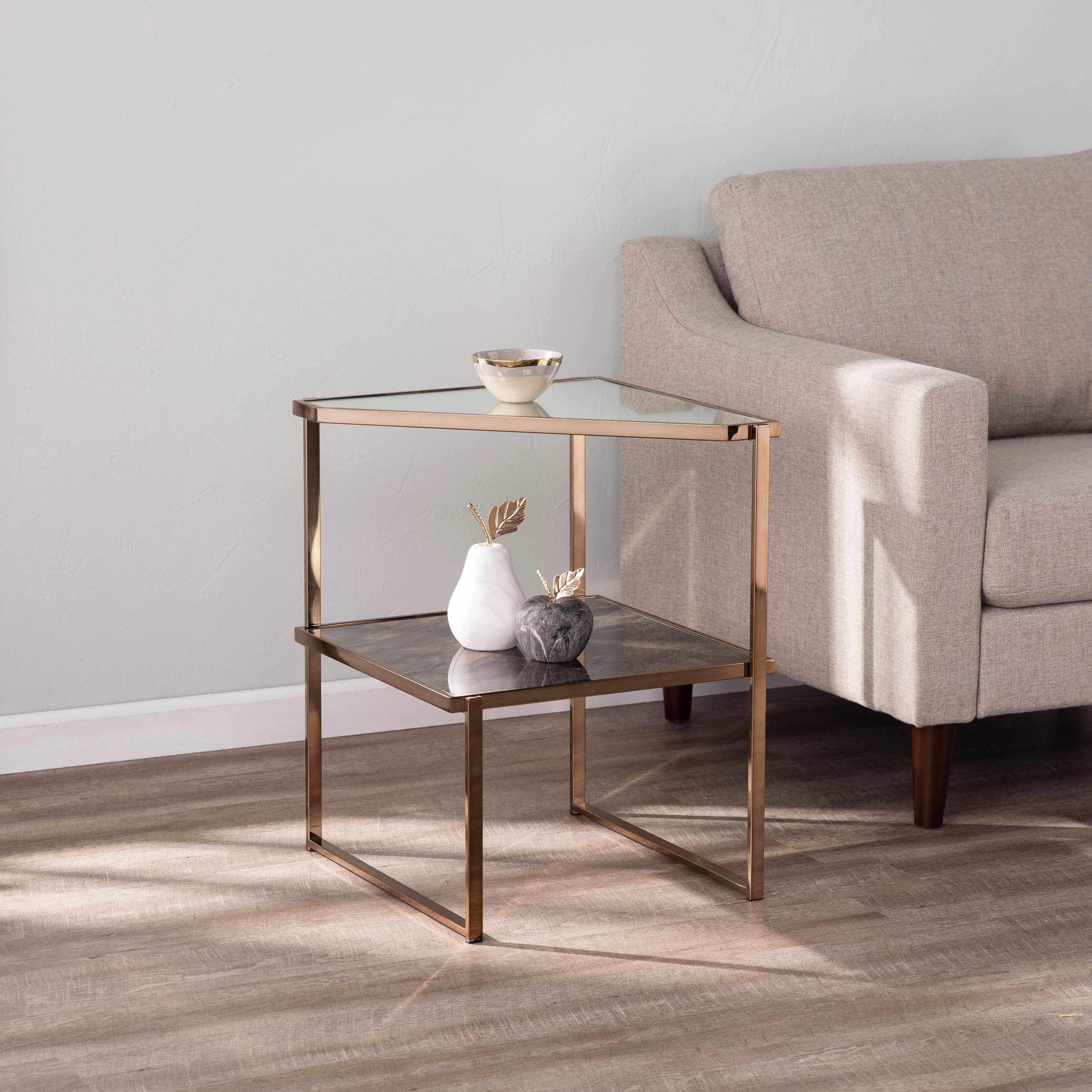 Silver Orchid Tarton Mirrored Side Table W Faux Stone Glass On Sale Overstock 29811725