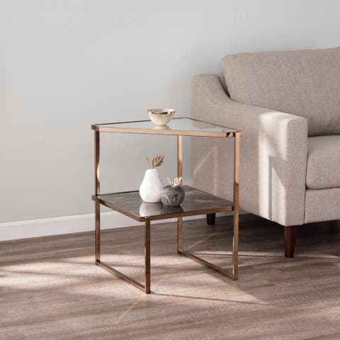 Silver Orchid Tarton Mirrored Side Table w/ Faux Stone Glass