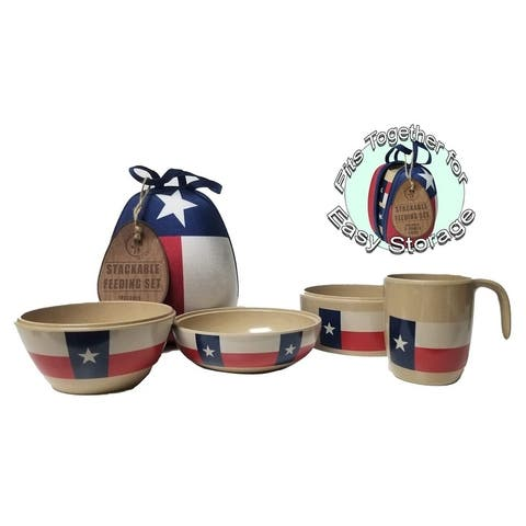 Refresh A Baby Stackable Eco-Friendly 4 Piece Bowl Cup Set Approved Recycled Rice Husk Includes Egg Shaped Carrying Case