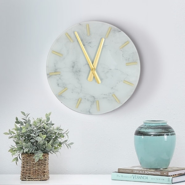 Abbyson Morrison White Marble Wall Clock