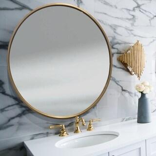 Abbyson Eternity Round Gold Wall Mirror