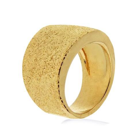 Forever Last 18 kt Gold Plated Women's Satin Finish Domed Ring