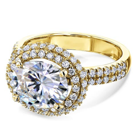 Annello by Kobelli 14k Gold 3 3/4ct TGW Oval Moissanite and Diamond Double Halo East-West Engagement Ring (HI/VS, GH/I)