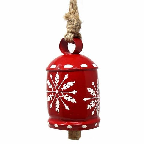 Handmade Recycled Rustic Red and White Snowflake Irong Hanging Bell