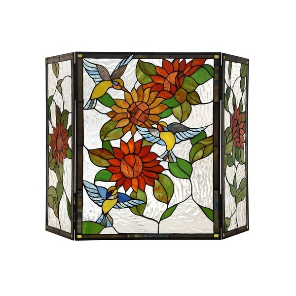 Gracewood Hollow Tsibinda Tiffany-style Floral Stained Glass 3-panel Fireplace Screen