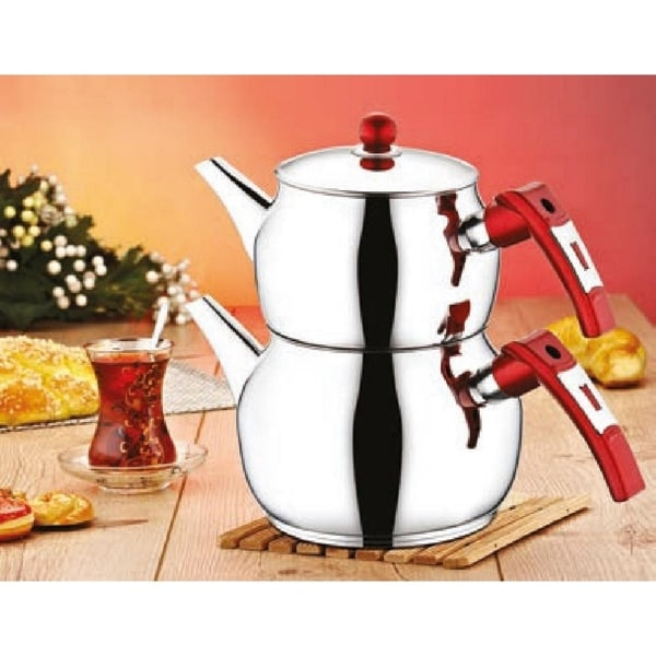 DiscountWorld Ottoman Stainless Steel, Turkish Teapot for 3 people, 2.8 qt