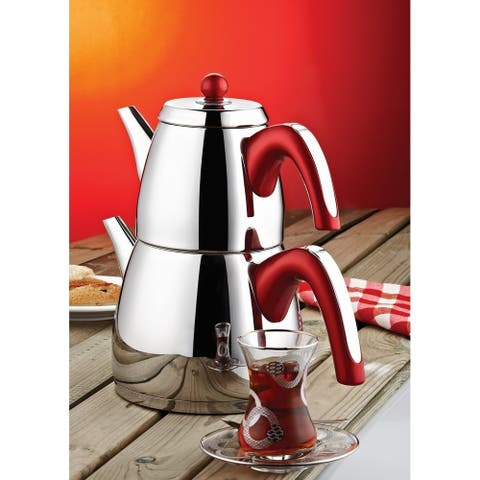DiscountWorld Ece Stainless Steel, Turkish Teapot for 2 people, 2.3 qt