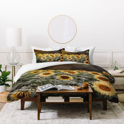 Porch & Den Parkdale Yellow/Green Sunflower 3-piece Duvet Cover Set