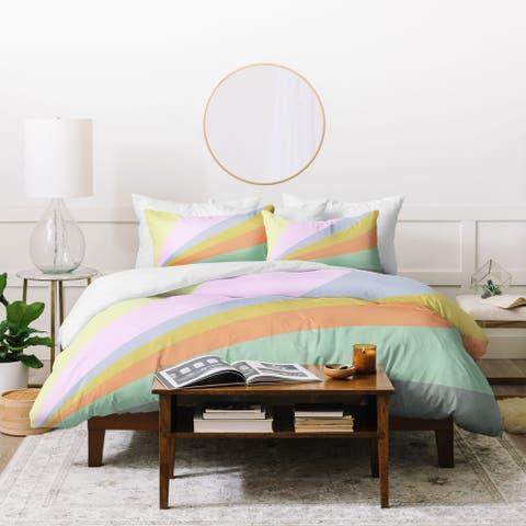 Deny Designs Pastel Rainbow 3 Piece Duvet Cover Set