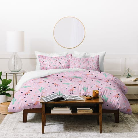 Porch & Den Packard Pink Flamingo and Cactus 3-piece Duvet Cover Set