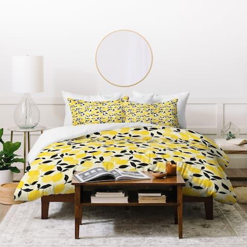 Deny Designs Lemon Garden 3 Piece Duvet Cover Set