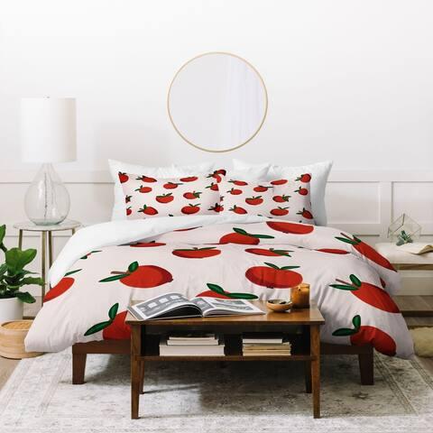 Deny Designs Red Apples 3 Piece Duvet Cover Set