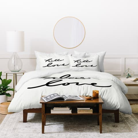 Deny Designs Hello Love on White 3 Piece Duvet Cover Set