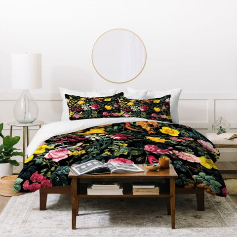Deny Designs Birds and Floral 3 Piece Duvet Cover Set