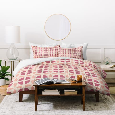 Deny Designs Peachy Pink Geometric 3 Piece Duvet Cover Set