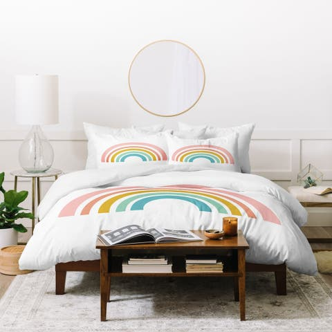 Deny Designs Simple Rainbow 3 Piece Duvet Cover Set