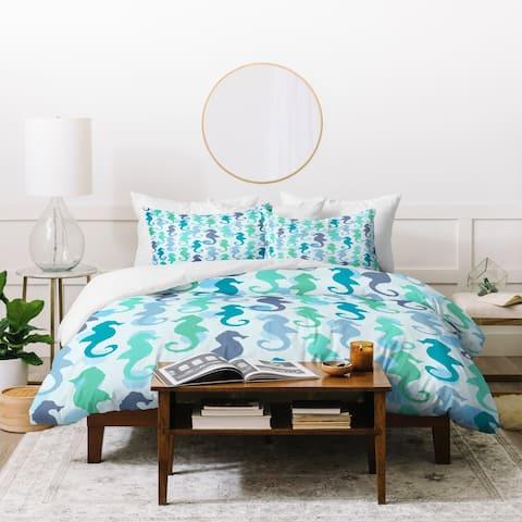 Deny Designs Seahorses and Bubbles 3 Piece Duvet Cover Set