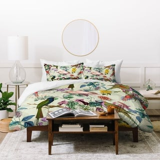 Deny Designs Floral and Birds 3 Piece Queen Size Duvet Cover Set (As Is Item)